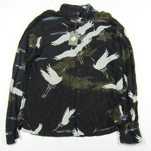 All Saints Men's Yonder Black Button Up Pelican XL